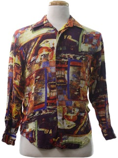 1990's Mens/Boys Print Disco Style Club/Rave Shirt
