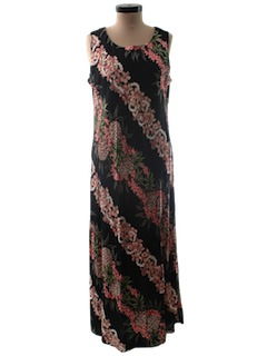 1990's Womens A-line Hawaiian Maxi Dress