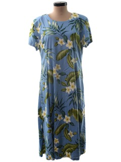1980's Womens A-line Hawaiian Maxi Dress