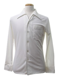 1970's Mens Solid Saturday Night Fever Disco Shirt
