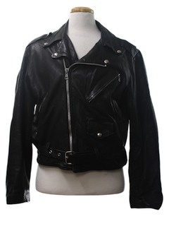 1970's Mens Leather Motorcycle Biker Jacket