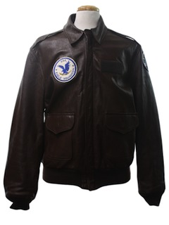 1980's Mens A2 Airforce Leather Bomber Flight Jacket