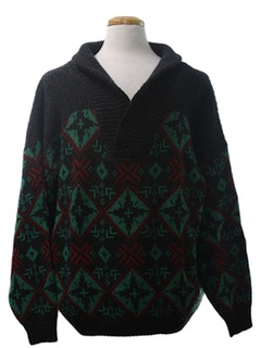 1980's Mens Totally 80s Snowflake Cosby Style Ski Sweater