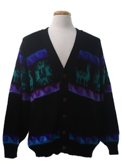 1980's Mens Totally 80s Hippie Style Cardigan Sweater