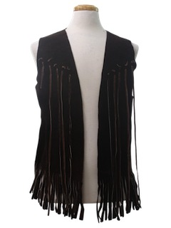 1970's Unisex Suede Leather Fringed Hippie Vest