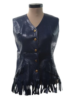 1970's Womens Faux Leather Vinyl Vest