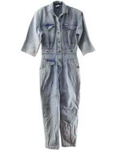 1980's Womens Totally 80s Acid Washed Denim Jumpsuit