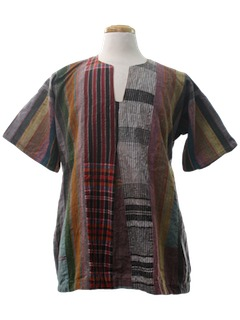 1980's Unisex Hippie Patchwork Tunic Shirt