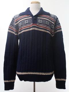 1970's Mens Vintage 70s Snowflake Ski Sweater