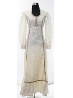 1970's Womens Hippie Prairie Wedding or Prom Dress
