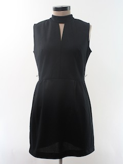 1960's Womens Mod Little Black Knit Dress