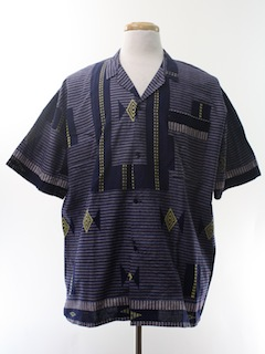 1990's Mens Wicked 90s Ethnic Print Sport Shirt