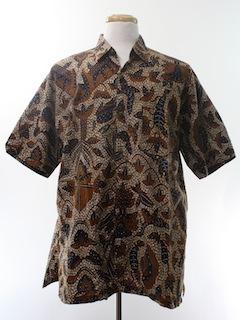 1990's Mens Ethnic Print Sport Shirt