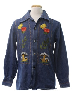 1970's Unisex Denim Hippie Shirt