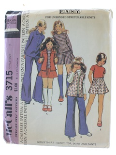 1970's Womens Girls Pattern