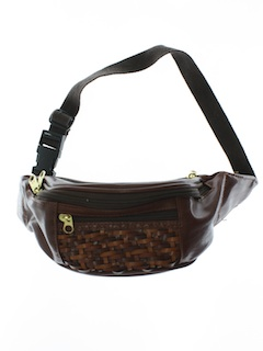 1990's Unisex Accessories - Wicked 90s Leather Look Hippie Style Fanny Pack