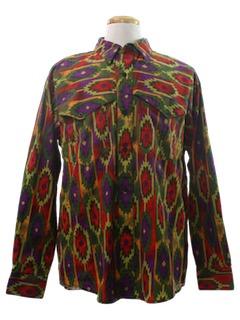 1970's Mens Geometric Print Western Shirt