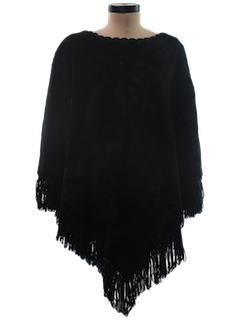 1970's Womens Faux Fur Poncho Jacket