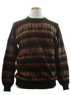 1980's Mens Hippie Style Alpaca Wool Sweater