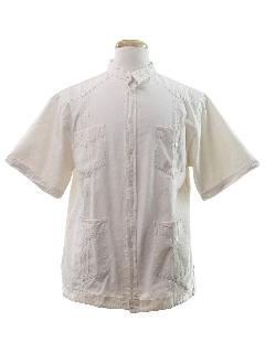 1980's Mens Guayabera Style Hippie Shirt