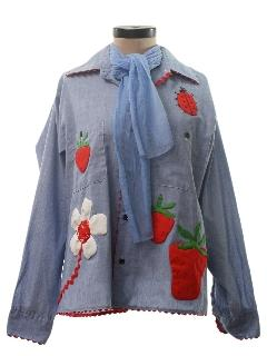 1970's Womens Mod Chambray Embroidered Hippie Shirt