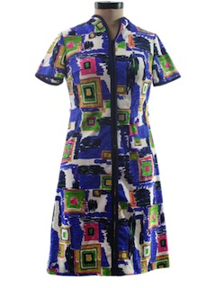 1970's Womens Mod Op-Art Dress