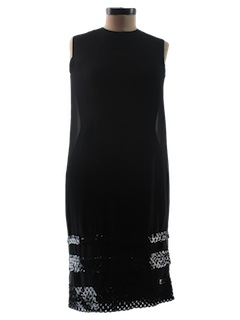 1960's Womens Little Black Cocktail Dress