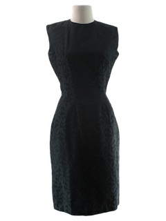 1950's Womens Fab Fifties Little Black Wiggle Cocktail Dress