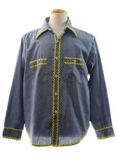 1970's Unisex Hand Painted Chambray Hippie Shirt