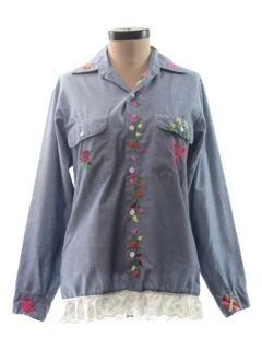1980's Womens Chambray Hippie Shirt
