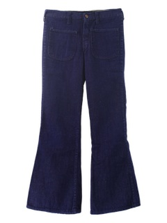 1980's Mens Navy Style Bellbottom Jeans Pants