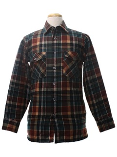1980's Mens Wool Flannel Shirt Jacket