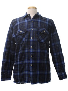 1980's Mens Flannel Wool Shirt Jacket