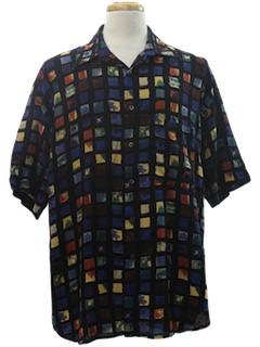 1980's Mens Print Resort Wear Shirt