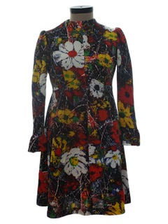 1970's Womens Knit Mod Pow-Flower Hippie Dress
