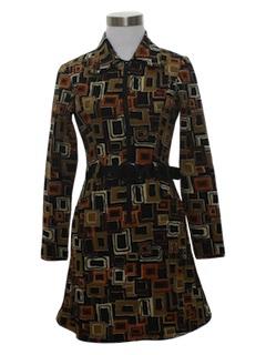1970's Womens Mod Knit Mini Dress