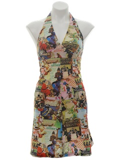 1970's Womens Photo Print Mini Dress