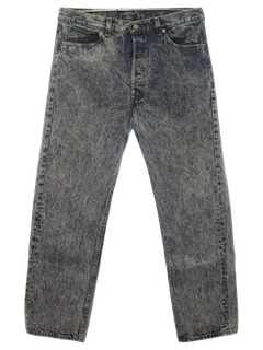 1980's Mens Levis 501s Totally 80s Acid Washed Jeans Pants
