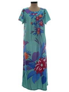 1970's Womens Maxi Muu Muu Hawaiian Dress