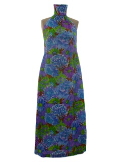 1970's Womens Maxi Hawaiian Halter Dress