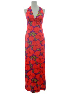 1960's Womens Halter Maxi Dress