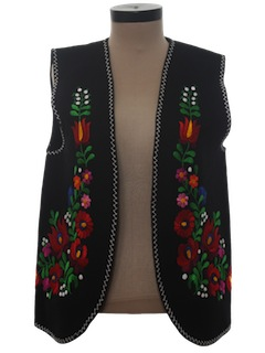 1970's Unisex Embroidered Mod Hippie Vest