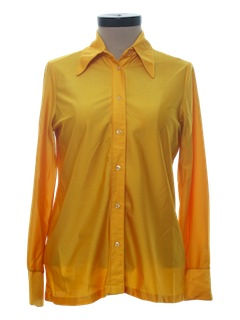 1970's Womens Solid Slinky Nylon Disco Shirt