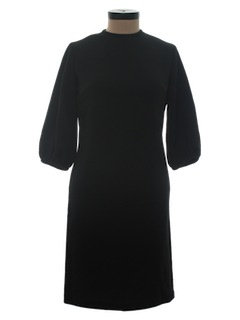 1970's Womens Little Black Knit Dress