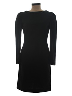 1980's Womens Totally 80s Little Black Wiggle Cocktail Dress
