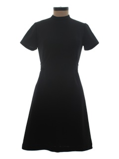1960's Womens Wool Little Black Dress