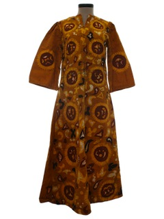 1960's Womens Flared Hippie Maxi Dress