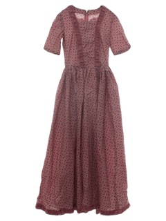 1970's Womens/Girls Prairie Hippie Maxi Dress