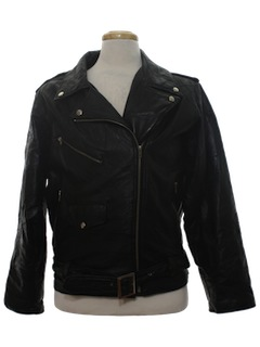 1980's Mens Totally 80s Leather Motorcycle Biker Jacket