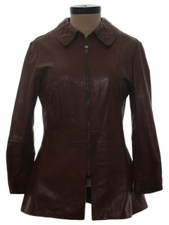 1970's Womens Designer Leather Coat Jacket